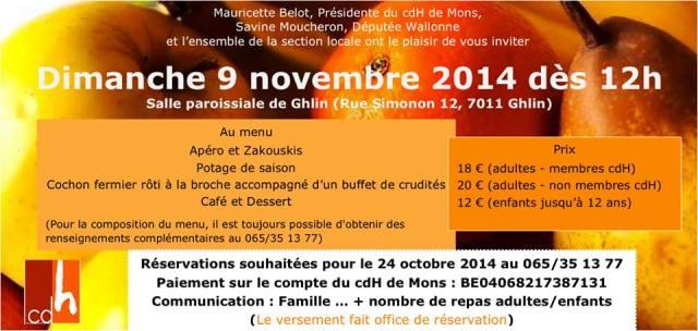 invitation cdH Mons - repas dimanche 9 novembre